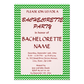 Bachelorette Party - Green Zigzag, Pink Background Custom Announcements