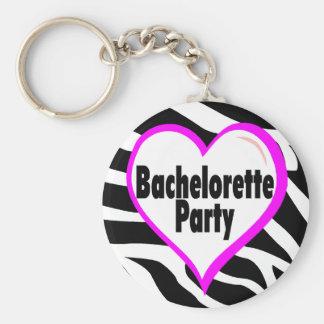 Bachelorette Party (Heart Zebra Stripes) Keychain