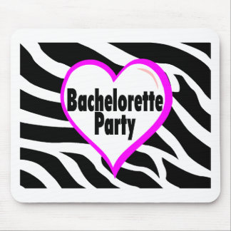 Bachelorette Party (Heart Zebra Stripes) Mouse Pad