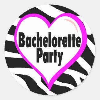 Bachelorette Party (Heart Zebra Stripes) Round Sticker