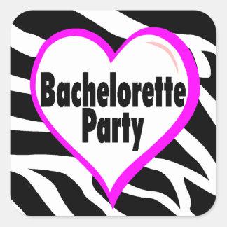Bachelorette Party (Heart Zebra Stripes) Stickers