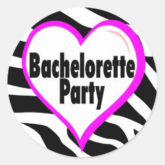 Bachelorette Party (Heart Zebra Stripes) Sticker