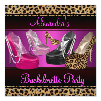 Bachelorette Party Hi Heel Shoes Bright Pink Card