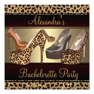 Bachelorette Party Hi Heel Shoes Leopard Card