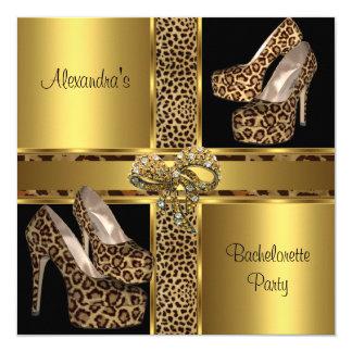 Bachelorette Party Hi Heel Shoes Leopard Gold 2 Card
