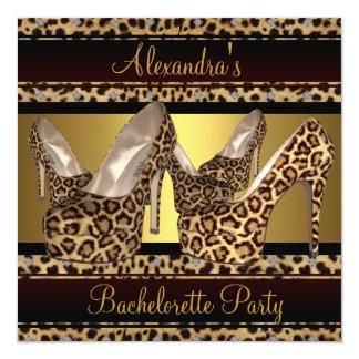 Bachelorette Party Hi Heel Shoes Leopard Gold 5.25x5.25 Square Paper Invitation Card
