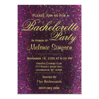 Bachelorette Party | Hot Pink Glitter 5x7 Paper Invitation Card