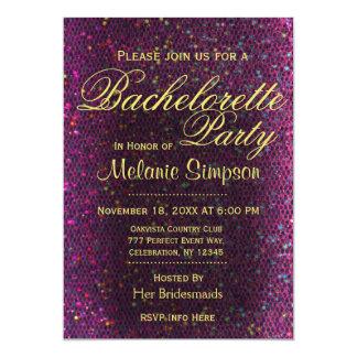 Bachelorette Party   Hot Pink Glitter 5x7 Paper Invitation Card