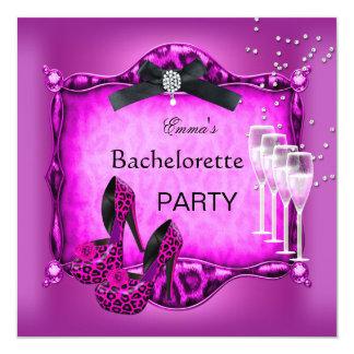 Bachelorette Party Hot Pink Leopard Black Shoes 2 Card