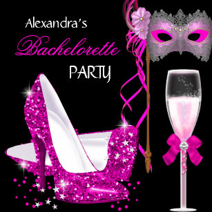 bachelorette party hot pink masquerade champagne invitation