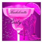 "Bachelorette Party Hot Pink purple Shoes 5.25"" Square Invitation Card"