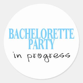 Bachelorette Party In Progress (Blu) Classic Round Sticker