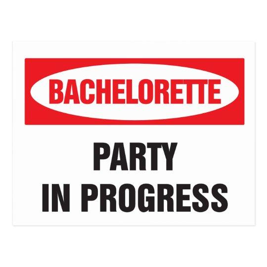 Bachelorette party in progress postcard