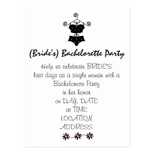 Bachelorette Party Invitation-Cute Lingerie Postcard