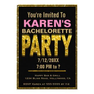 Bachelorette Party Invitation   Gold Glam