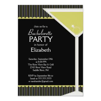 """Bachelorette Party Invitation Martini Glass 5"""" X 7"""" Invitation Card"""