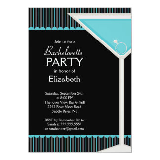 """Bachelorette Party Invitation Martini Glass Blue 5"""" X 7"""" Invitation Card"""