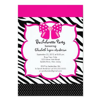 Bachelorette Party Invitation Pink  Black Zebra