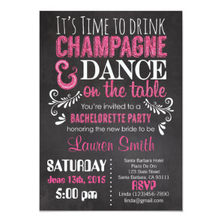 Bachelorette Party Invitation Pink Glitter