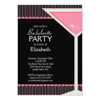 """Bachelorette Party Invitation Pink Martini Glass 5"""" X 7"""" Invitation Card"""