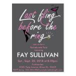 Bachelorette party invitation postcard