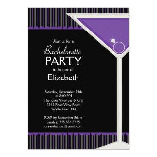 """Bachelorette Party Invitation Purple Martini Glass 5"""" X 7"""" Invitation Card"""