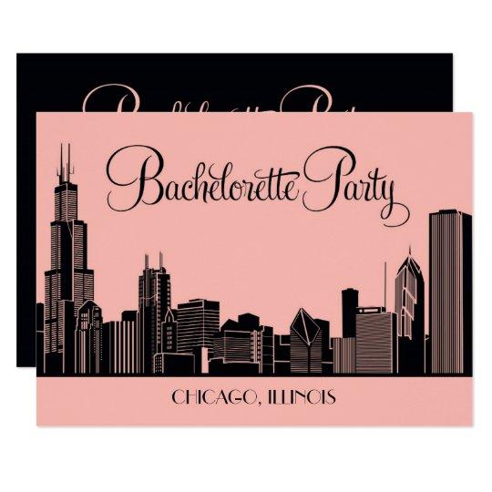 bachelorette party invitations chicago skyline zazzle com