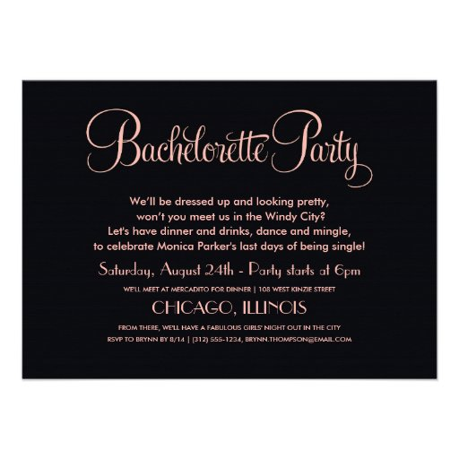 Bachelorette Party Invitations   Chicago Skyline (back side)
