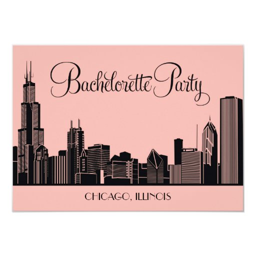 Bachelorette Party Invitations Chicago Skyline
