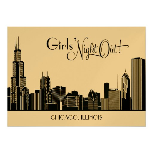 Bachelorette Party Invitations | Chicago Skyline
