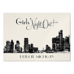 "Bachelorette Party Invitations | Detroit Skyline 4.5"" X 6.25"" Invitation Card"
