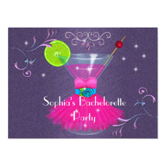 Bachelorette Party Invitations with Dress & Cosmo