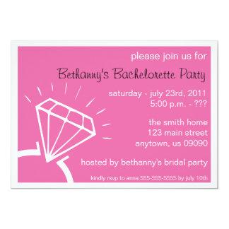 """Bachelorette Party Invite (Diamond Ring Dark Pink) 5"""" X 7"""" Invitation Card"""