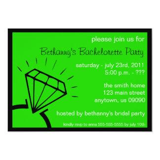 Bachelorette Party Invite (Diamond Ring Green)