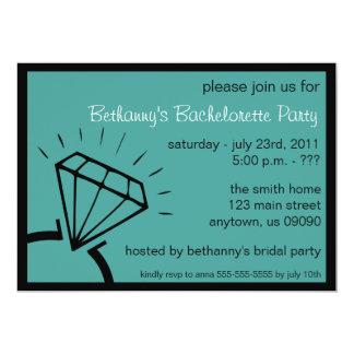 "Bachelorette Party Invite (Diamond Ring Teal) 5"" X 7"" Invitation Card"