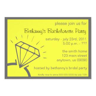 """Bachelorette Party Invite (Diamond Ring Yellow) 5"""" X 7"""" Invitation Card"""