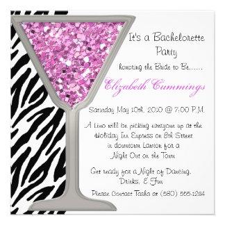 bachelorette party invite funky chic cute zebra