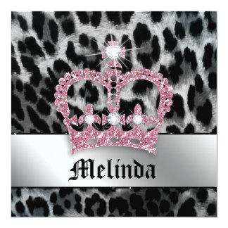 Bachelorette Party Invite Leopard Black Pink Crown