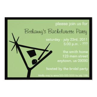 Bachelorette Party Invite Martini Glass Sage Green