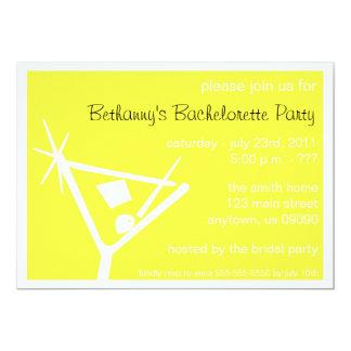 """Bachelorette Party Invite Martini Glass (Yellow) 5"""" X 7"""" Invitation Card"""