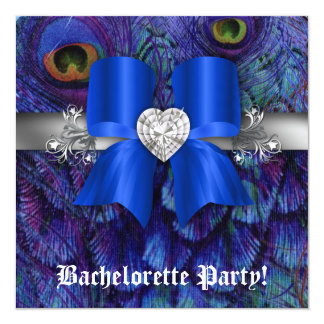 Bachelorette Party Invite Peacock Bow Blue Heart