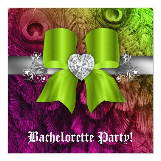 Bachelorette Party Invite Peacock Bow Lime Heart