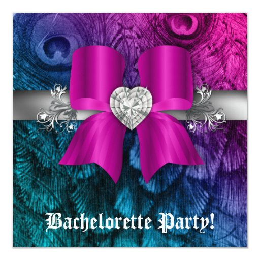 Bachelorette Party Invite Peacock Bow Pink Heart
