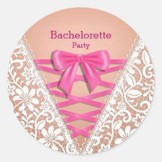 Bachelorette Party Lace Lingerie Corset Classic Round Sticker