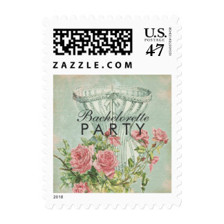 Bachelorette Party Ladies Fashion Mint Pink Roses Postage