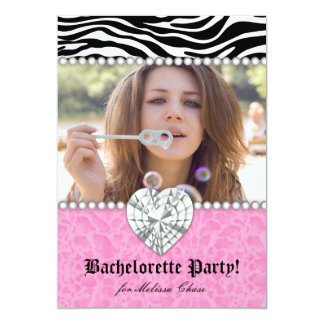 Bachelorette Party leopard Pearls Lace Heart Pink 5x7 Paper Invitation Card