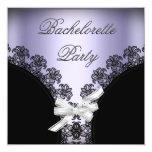 "Bachelorette Party Lilac Purple Black Lace 5.25"" Square Invitation Card"