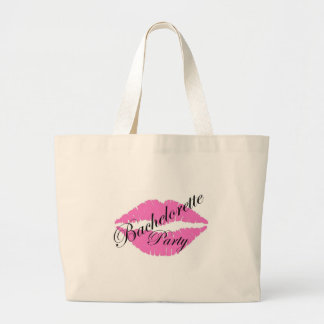 Bachelorette party lips pink large tote bag