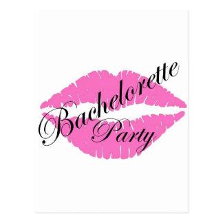 Bachelorette party lips pink postcard