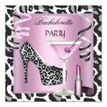 Bachelorette Party Lipstick Pink Leopard Shoes Announcements